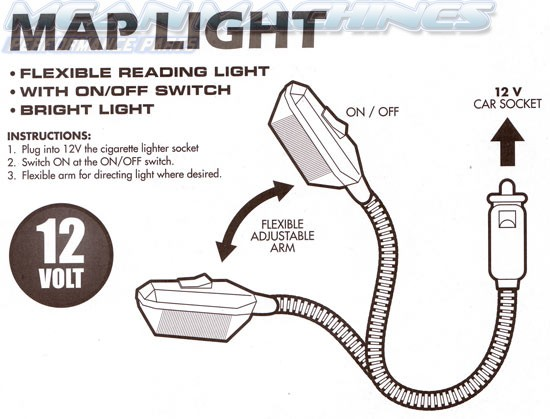 Map Reading Lamp Interior Light 12v Flexible Metal Arm