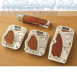 Aluminium / Polished Chrome Aligator Skin Rendered Pedals and Handbrake Set