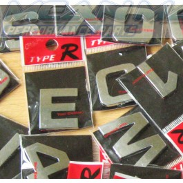 Type R Chrome car letters - custom car lettering