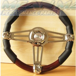Wood and Chrome Retro Styled Classic Car Steering Wheel