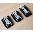 Classic Brushed Aluminium Rubber Padded Pedals